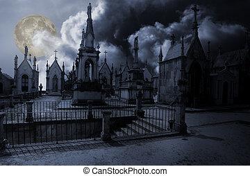 noche, lleno, cementerio, luna