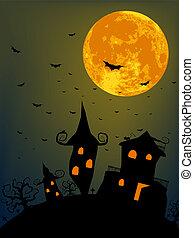 noche, lleno, halloween, luna
