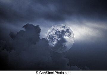 noche, Lleno, nublado, luna