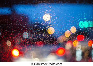 noche, lluvioso, parabrisas, coches