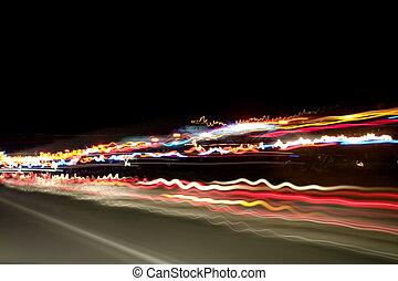 noche, luces, en, el, carretera