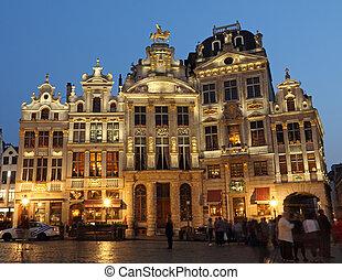 noche, lugar, bruselas, magnífico