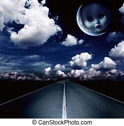 noche, luna, nubes, paisaje, camino