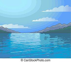 noche, luz de la luna, paisaje, colorido, ilustración