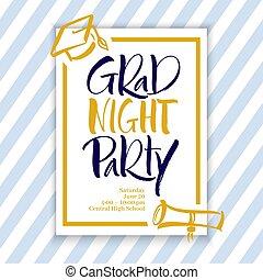 noche, mano, grad, letras, fiesta