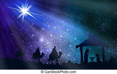 noche, maría, joseph, navidad, jesús