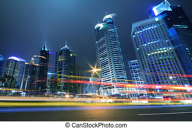 noche, megacity, anochecer, senderos, shanghai, luz, carretera