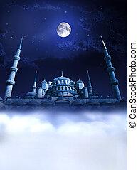 noche, mezquita, paraíso