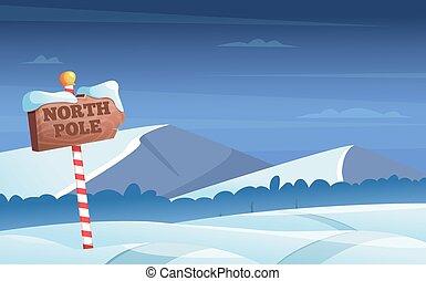 noche, nevoso, vector, bosque, signo., mundo maravilloso, vacaciones, camino, caricatura, plano de fondo, árboles, polo norte, invierno, ilustración, nieve