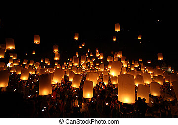 noche, newyear, tradicional, linterna, tailandés, globo