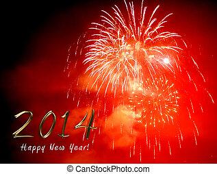 noche, -, nuevo, fuego artificial, año, 2014, feliz