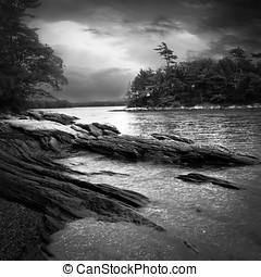noche, océano, paisaje de tierra virgen
