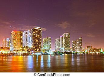 noche, ocaso, empresa / negocio, skyline., miami, ...