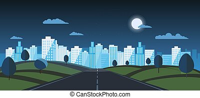 noche, público, camino, calle, cielo, urban., principal, ...