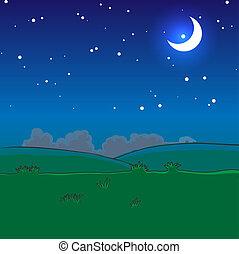 noche, paisaje, con, estrellas, y, luna