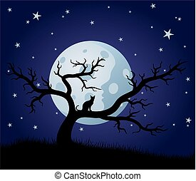 noche, paisaje, con, luna, y, árbol.