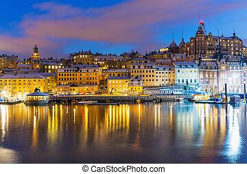 noche, paisaje, de, estocolmo, suecia