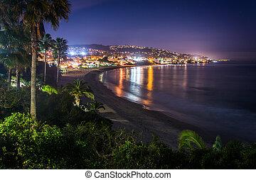 noche, parque, heisler, playa, laguna, vista