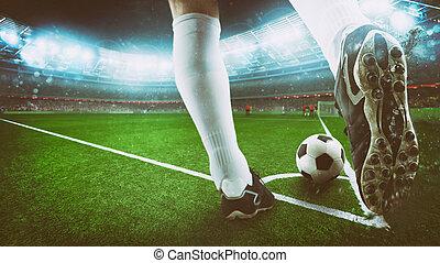 noche, patada, zapato, fútbol, cierre, pelota del fútbol, ...