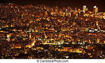 noche, plano de fondo, ciudad