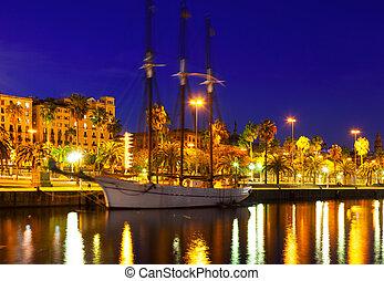 noche, puerto, tiro, barcelona, españa, vell.