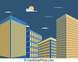 noche, scene., edificio, torre, mordern, céntrico, cielo, buiding, vector, perspectiva, ciudad, diseño, fondo., illustration.