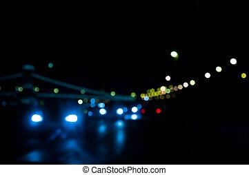 noche, semáforos, ciudad, foco, afuera