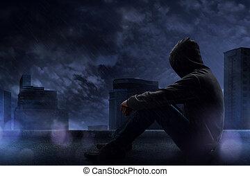 noche, sentado, tejado, hombre, lluvioso
