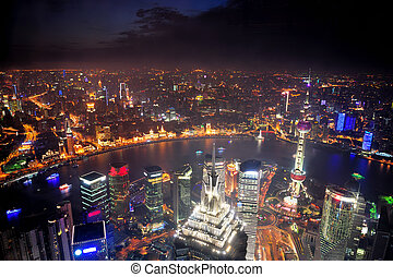 noche, shanghai, vista aérea