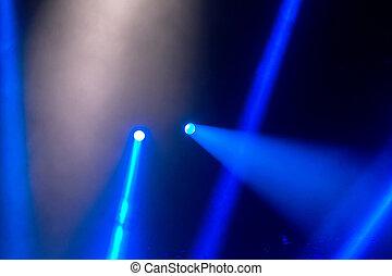 noche, show., luz, proyectores, entretenimiento, vigas, ...