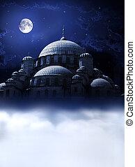 noche, sueño, mezquita