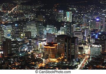 noche, sur, seúl, sobre, alto, iluminado, ciudad, corea