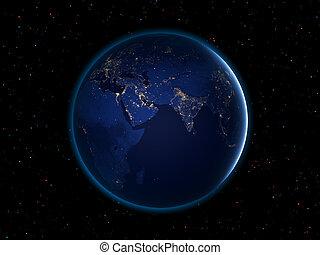 noche, tierra, de, espacio
