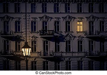noche, tiro, de, un, hermoso, viejo, casa, en, kreuzberg, berlín