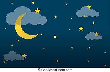 noche, vector, illustration., sky.
