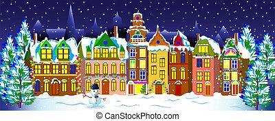 noche, viejo, invierno, town.
