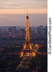 noche, vista., cima, france., paris.
