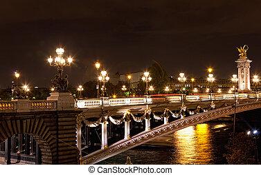 noche, vista, de, alexander, puente, de, iii, en, parís