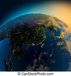 noche, vista, de, asia, de, el, satélite