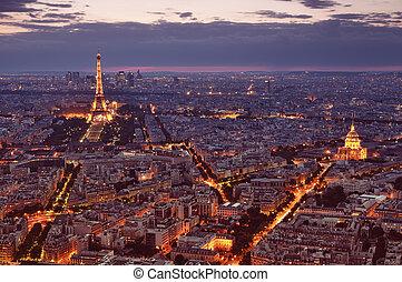 noche, vista, de, paris.