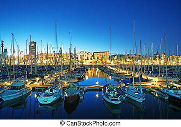 noche, vista, de, puerto deportivo, vell de puerto, (long, exposure)