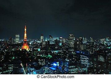 noche, vista, de, tokyo tower