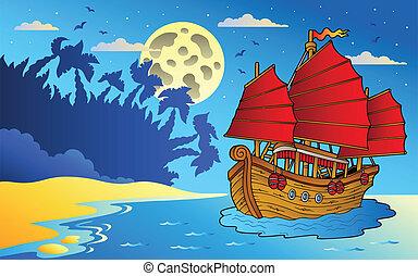 noche, vista marina, con, chino, barco