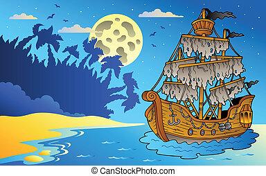 noche, vista marina, con, misterioso, barco