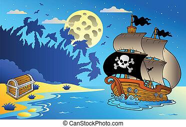 noche, vista marina, con, pirata, barco, 1