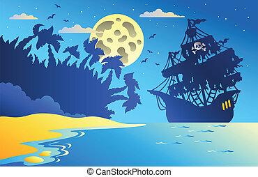 noche, vista marina, con, pirata, barco, 2