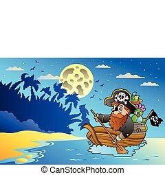 noche, vista marina, con, pirata, en, barco