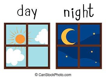 noche, wordcard, contrario, día