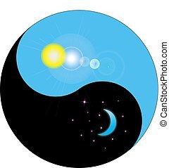 noche, y, día, yang de yin