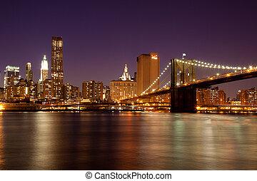 noche, -, york, nuevo, puente de brooklyn